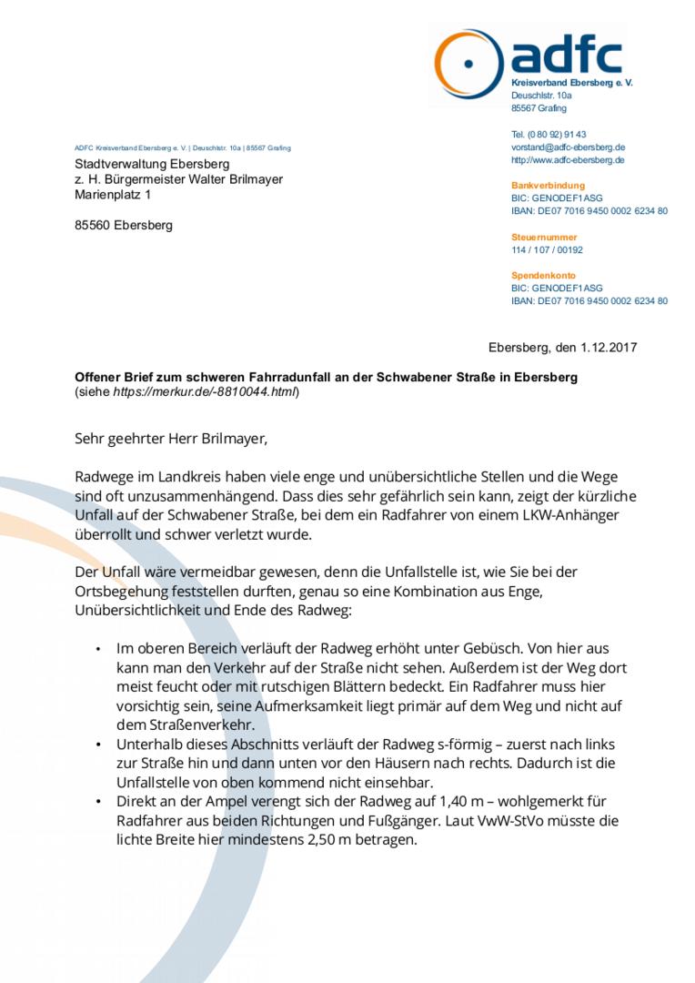 Adfc Ebersberg Offener Brief Zum Schweren Fahrradunfall An Der